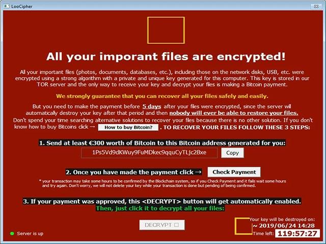 Mã độc ransomware LooCipher