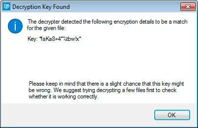 Thông báo đã tìm được key giải mã