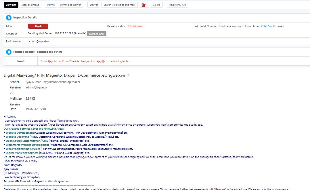 Hệ thống email phát hiện email có tên miền giả mạo