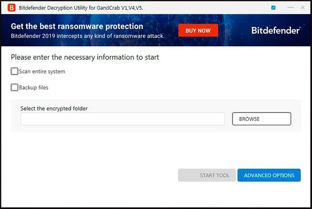 Tùy chọn giải mã cho mã độc GandCrab