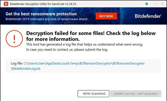 Hoàn tất quá trình giải mã GandCrab