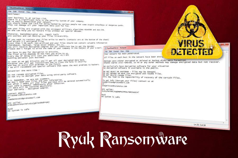 Mã độc tống tiền Ryuk nhắm vào doanh nghiệp lớn